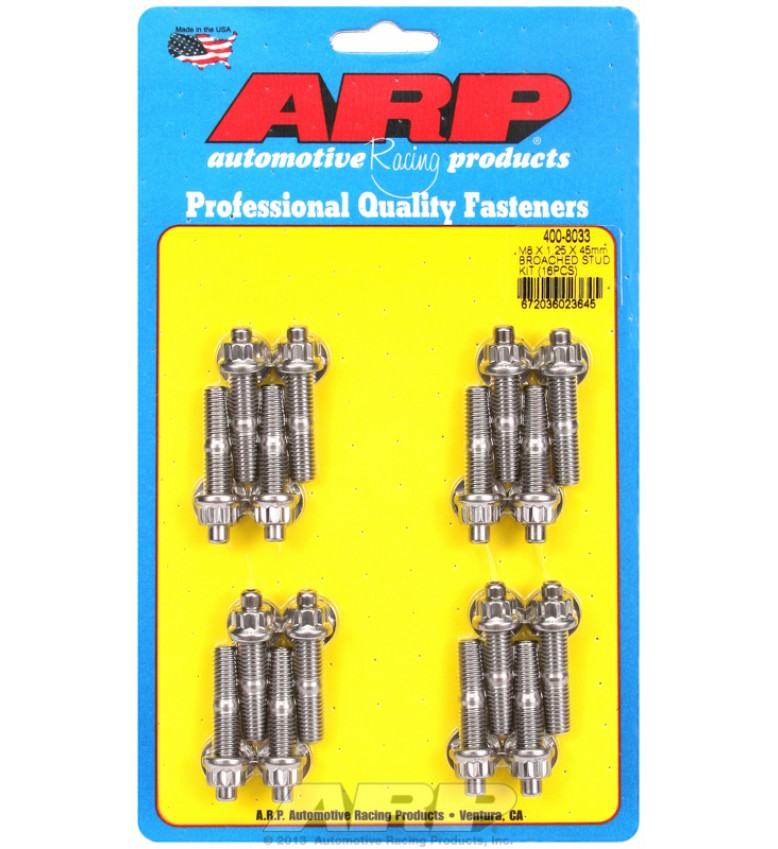 ARP Hardware - M8 X 1.25 X 45mm broached stud kit - 16pcs