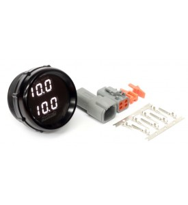 "Wideband O2 Dual Channel Gauge Only 52mm/2-1/16"" Black Bezel with White LED Display. For use with Haltech CAN Wideband Controllers (includes HT-031016 - Matching Set of Deutsch DTM 4 Connectors)"
